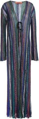 Missoni Metallic Striped Crochet-knit Cardigan