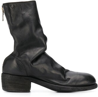 Guidi cracked-effect mid-calf boots