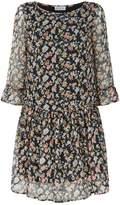 Claudie Pierlot Floral Crepe Mini Dress, Black, 36