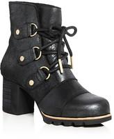 Sorel Addington Waterproof Holiday Leather and Shearling High Heel Booties