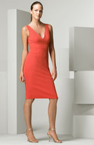 Double Faced Stretch Wool Crepe Sheath Dress