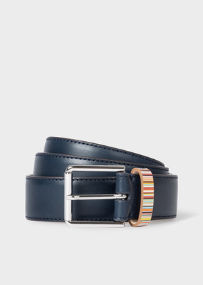 Paul Smith Men's Navy Leather Belt With 'Signature Stripe' Keeper