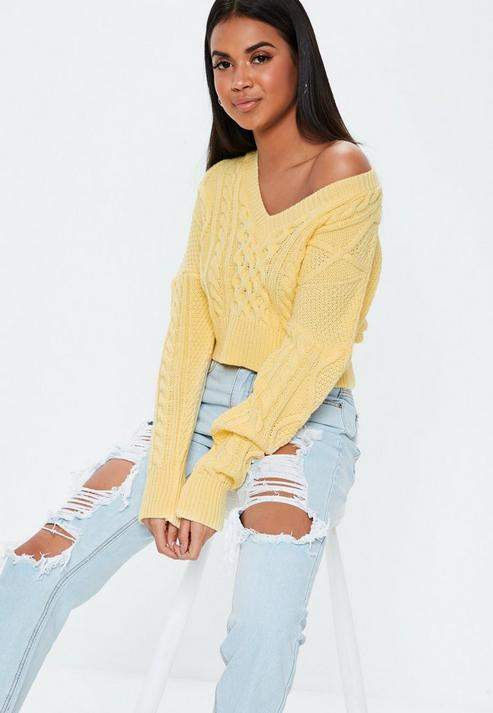 Yellow V Neck Cable Knit Cropped Sweater