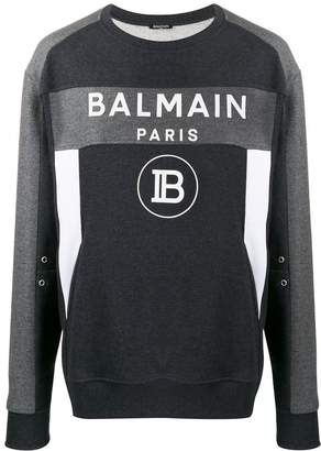 Balmain colour block logo sweatshirt