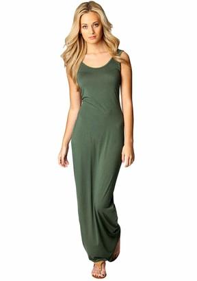 TYQQU Women's Dress Evening Dress Round Neck Sleeveless Sexy Dress Maxilangkeid Slim Fit Dark Grey XL