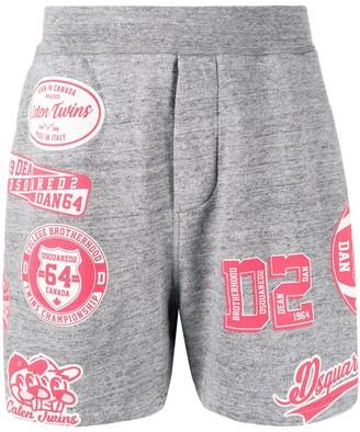 DSQUARED2 Varsity Sport-Print Track Shorts