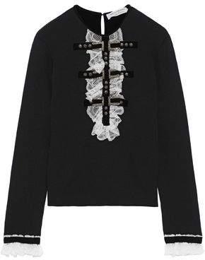 Philosophy di Lorenzo Serafini Embellished Chantily Lace-trimmed Wool Sweater