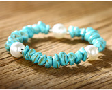 Sevil Designs Women's Bracelets Turquoise - Imitation Pearl & Teal Beaded Stretch Bracelet