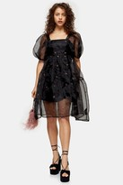 Topshop PETITE Black Embroidered Organza Tiered Dress