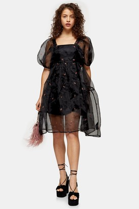Topshop Womens Petite Black Embroidered Organza Tiered Dress - Black