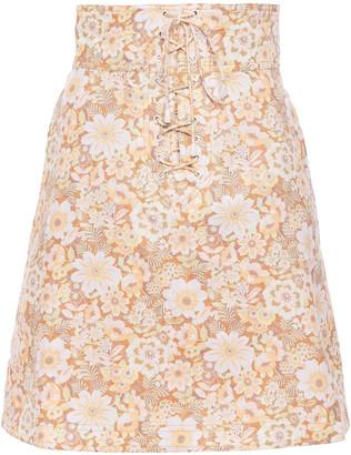 Zimmermann Zippy Lace-up Floral-print Linen Mini Skirt
