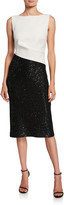 St. John Colorblock Sleeveless Tuxedo Bodice Dress w/ Sequin Rib Knit Skirt