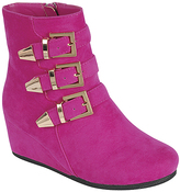 Fuchsia Triple-Buckle Peggy Wedge Boot