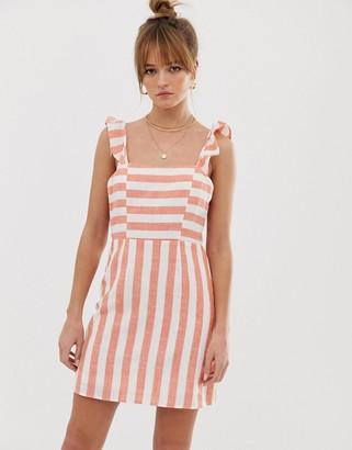 Glamorous tie back mini dress in stripe