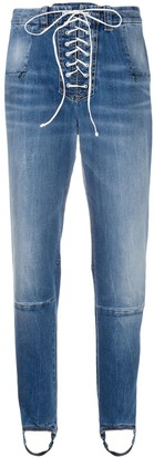 Unravel Project Laced Stirrup-Hem Jeans