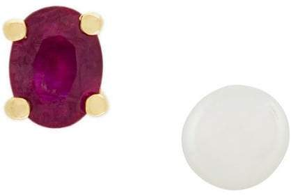 Wouters & Hendrix Gold pearl and ruby stud earrings