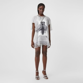 Burberry Lace Trim Swan Print Embroidered Cotton Dress