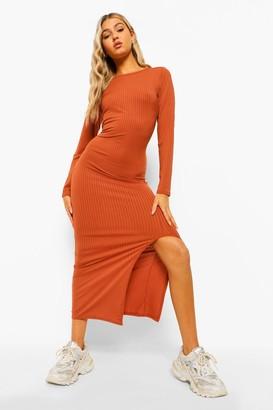 boohoo Tall Jersey Rib Long Sleeve Side Split Midaxi Dress