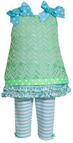 Bonnie Baby Newborn-24 Months Chevron Lace Dress & Striped Leggings Set