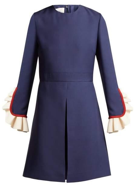 Valentino Ruffle Trimmed Wool And Silk Blend Mini Dress - Womens - Navy Multi