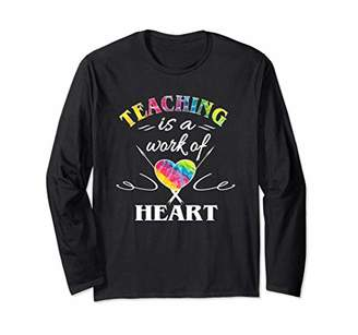 Teacher Gifts Women Trendy Tye Dye Teaching Work Of Heart Long Sleeve T-Shirt