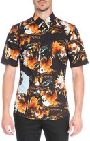 Givenchy Printed Short-Sleeve Woven Shirt, Orange