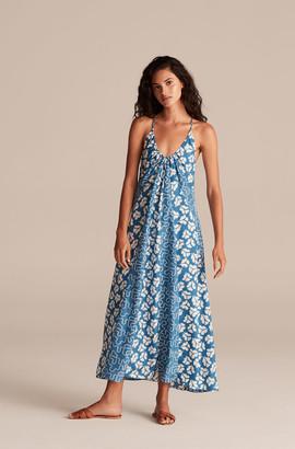 Rebecca Taylor Perla Petal Print Mix Halter Dress