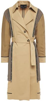 Proenza Schouler Zip-detailed Houndstooth Jacquard-paneled Cotton-blend Gabardine Trench Coat