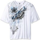 Southpole Men's Big and Tall Short Sleeve All Over Metal, Screen All Over Print Graphic Tee with Logo