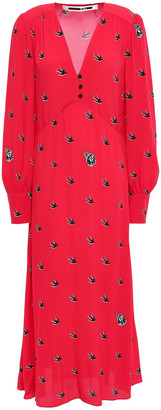McQ Printed Crepe De Chine Midi Dress