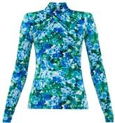 Richard Quinn Padded-shoulder Floral-print Velvet Top - Womens - Blue Print