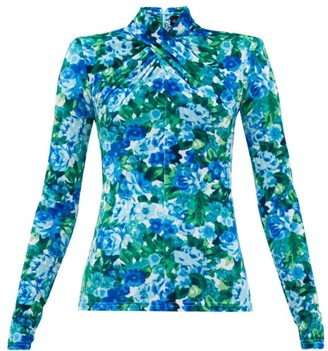 Richard Quinn Padded-shoulder Floral-print Velvet Top - Blue Print