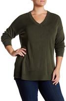 Sweet Romeo Ribbed V-Neck Sweater (Plus Size)