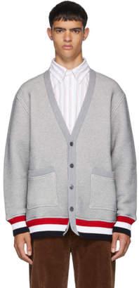 Thom Browne Grey Chunky Loopback Oversized V-Neck Cardigan