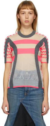 Junya Watanabe Grey and Pink Stripe Crewneck T-Shirt