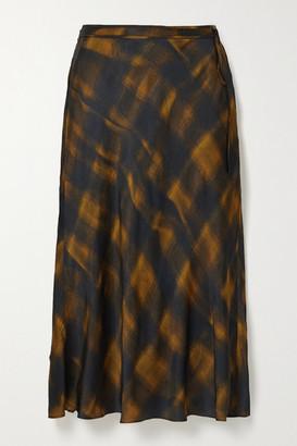 Proenza Schouler White Label Checked Hammered-satin Midi Skirt - Gold