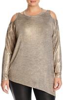 Love Scarlett Plus Metallic Cold Shoulder Sweater