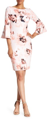 Calvin Klein Floral Bell Sleeve Sheath Dress