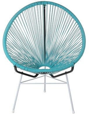 Joseph Allen Maya Acapulco Woven Basket Patio Chair Frame Color: Blue