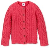 Petit Bateau Girls cable-knit cardigan in wool and cotton