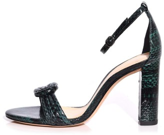 Alexandre Birman Chiara Block Exotic Heel in Shamrock
