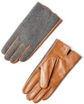 Frank & Oak Wool & Leather Gloves in Grey