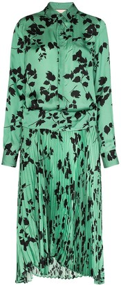 Plan C Leaf Print Midi Shirt Dress
