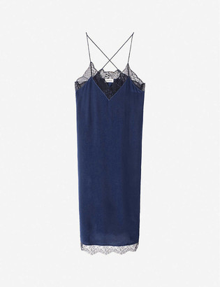 Zadig & Voltaire Closer lace-trimmed silk midi dress