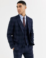 Rudie heritage check skinny fit suit jacket-Navy