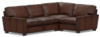 Pottery Barn Turner Square Arm Leather 3-Piece Sectional with Nailheads