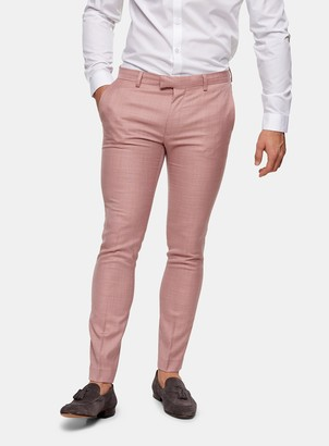 Topman Pink Super Skinny Fit Suit Trousers
