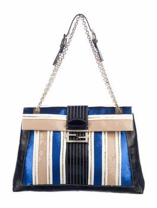 Fendi Leather-Trimmed Sequin Shoulder Bag Gold