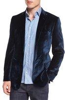 Etro Wrinkled Velvet Two-Button Sport Coat, Blue