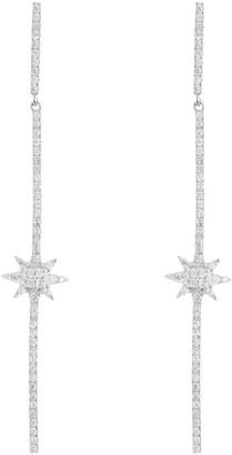 Meira T 14K White Gold Pave Diamond Starburst Linear Drop Earrings